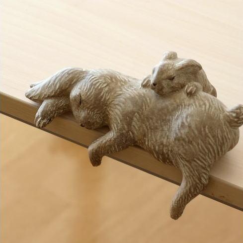 うさぎの置物 親子 雑貨 インテリアオブジェ 親子ウサギのお昼ねオブジェ