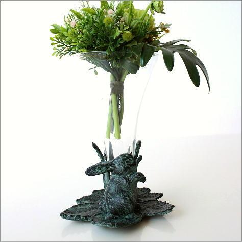花瓶 フラワーベース 可愛い オブジェ 花器 アイアンとガラスのうさぎのベース
