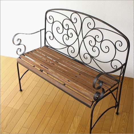 ガーデンベンチ 木製 アイアン 折りたたみ ウッドベンチ アイアンとウッドの2人掛けベンチB【送料無料】