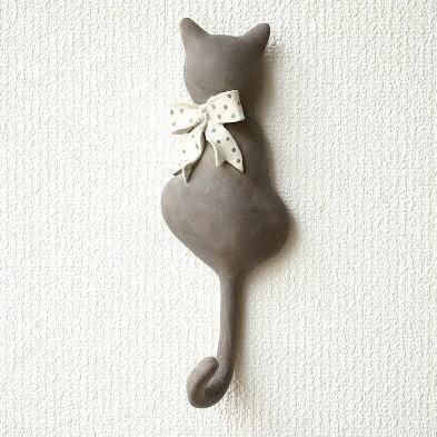壁掛けフック 猫 キーフック フックハンガー ネコのテールフック リボン