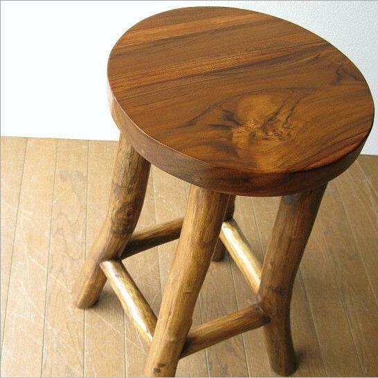 椅子 スツール カウンターチェア 木製 天然木 無垢 アジアン チーク原木スツールM【送料無料】
