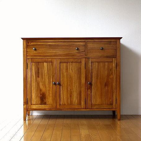 キャビネット 収納棚 天然木 無垢材 サイドボード キッチン リビングボード チークキャビネット【開梱設置送料無料】