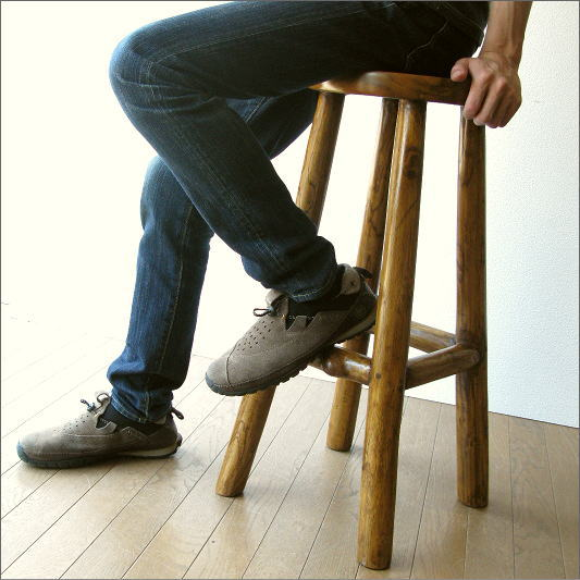椅子 スツール カウンターチェアー 木製 天然木 無垢 アジアン チーク原木スツール70【送料無料】