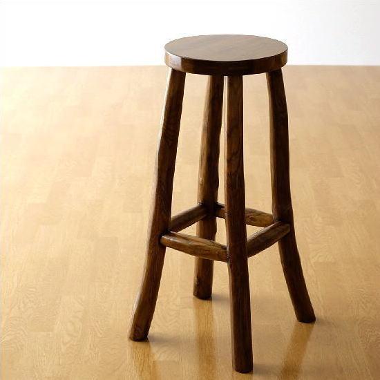 椅子 スツール カウンタースツール 木製 天然木 無垢 アジアン チーク原木スツールL【送料無料】
