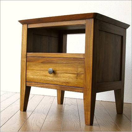 ナイトテーブル 無垢 ベッドサイドテーブル 木製 モダン おしゃれ チークサイドテーブル45【送料無料】