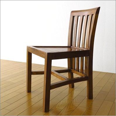 ダイニングチェア 背もたれ低い 無垢 木製 椅子 デスクチェア チークチェアー ミドル【送料無料】