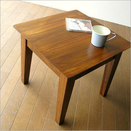 サイドテーブル 無垢 ベッドサイドテーブル 木製 ノートパソコンテーブル 45x45cm チークコンパクトテーブル45【送料無料】