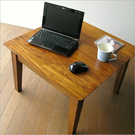 サイドテーブル 無垢 60x60cm 木製 ノートパソコンテーブル ローテーブル チークコンパクトテーブル60【送料無料】