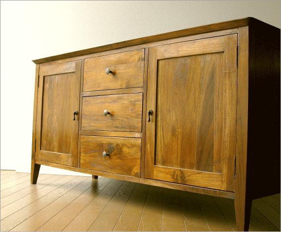 キャビネット 無垢 リビングボード 木製 モダン アジアン家具 チークサイドボード136【開梱設置送料無料】
