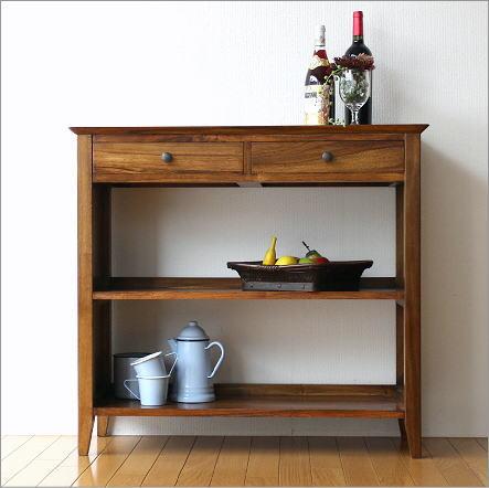 シェルフ 収納棚 リビング キッチン 無垢材 家具 本棚 おしゃれ 引き出し チークコンソール2ドロワー【送料無料】
