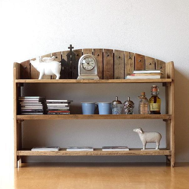 ローシェルフ カフェ風 おしゃれ 飾り棚 低い棚 ディスプレイラック シャビーシックな3段ラックアーチ型【送料無料】