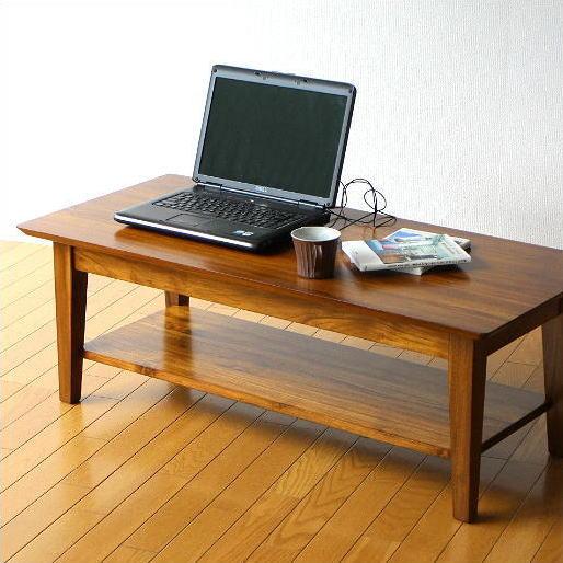 センターテーブル 無垢 ローテーブル 木製 チークリビングテーブル110【送料無料】