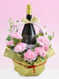 母の日ピンクのカーネーション花束ラッピング名前・メッセージ入りラベル酒 1800
