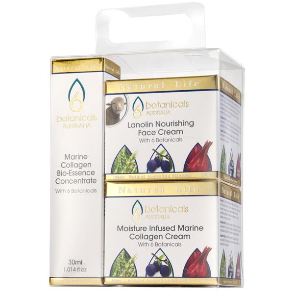 濃縮マリンコラーゲン・バイオエッセンス 30ml&保湿クリーム 50g&ラノリン・栄養フェイスクリーム 100g