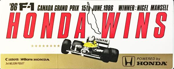ウィリアムズ ホンダ 1986 カナダGP マンセル 優勝記念ステッカー サイズ:6×15cm