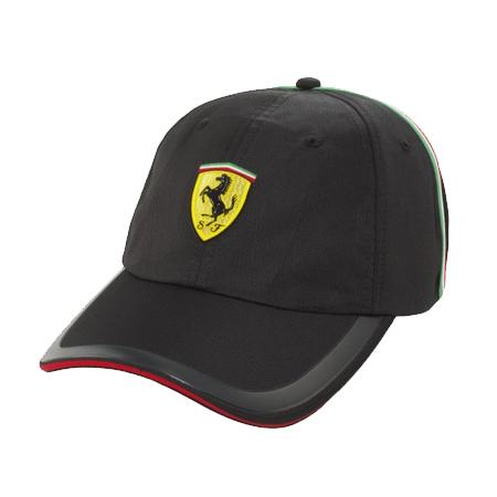フェラーリストア限定 フェラーリ ブラック イタリアンストライプ ベースボールキャップ ブラック