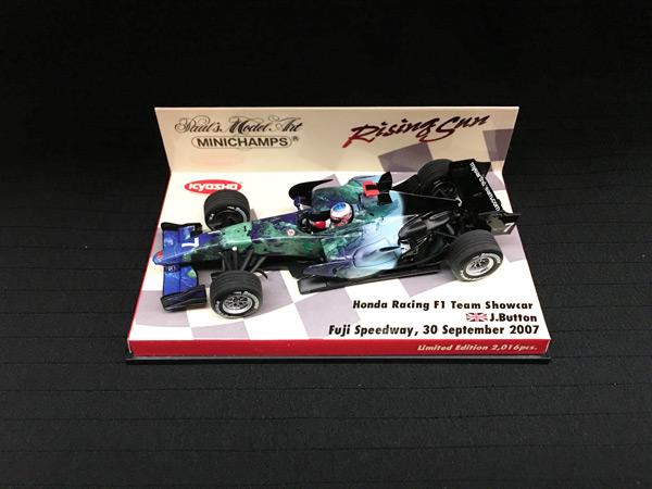 ミニチャンプス 1/43 ホンダ HONDA F1 2007ショーカー J.バトン 限定ライジングサン台紙