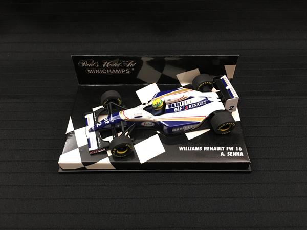 ミニチャンプス 1/43 ウィリアムズ FW16 A.セナ チェッカーボックス 2ndロット 背面ミニチャンプス白文字