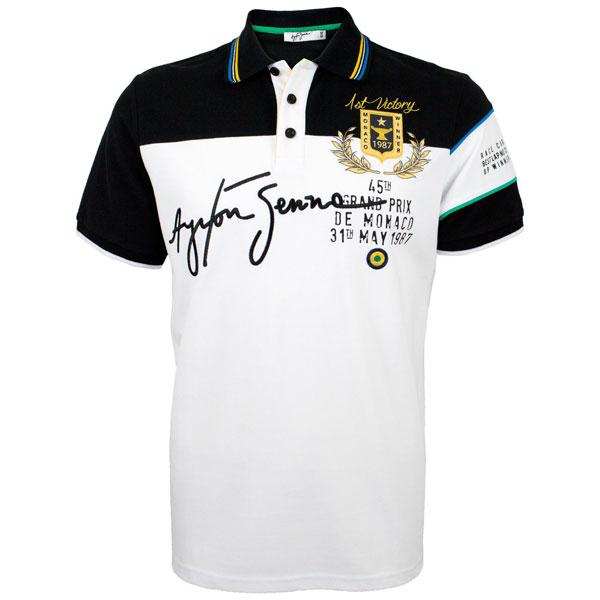 アイルトン・セナ MONTE CARLO 1st VICTORY ポロシャツ ホワイト S(日本サイズM)
