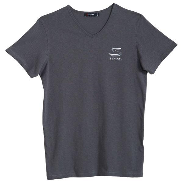 アイルトン・セナ VネックTシャツ グレー Sサイズ