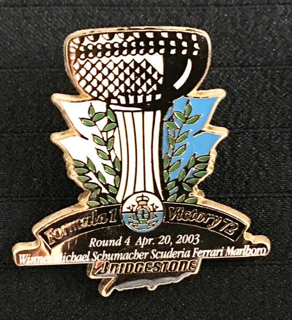 ブリヂストン 2003 F1 サンマリノGP 優勝記念ピンバッチ 72勝目  サイズ:縦3.4cm×横3.3cm