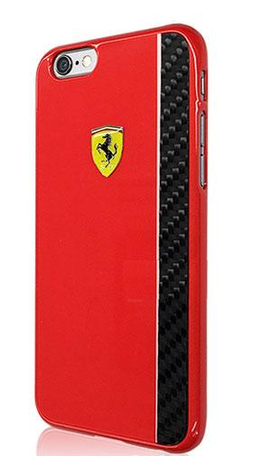 """フェラーリiPhone6/6S(4.7inch)カバー  """"Ferrari REAL CARBON FIBER Case  TypeB Red """""""