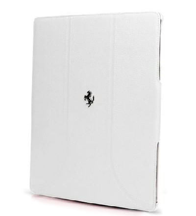"【SALE】フェラーリiPad(iPad Air 非対応)ケース ""Ferrari Genuine Leather Tablet Folio Case White"""