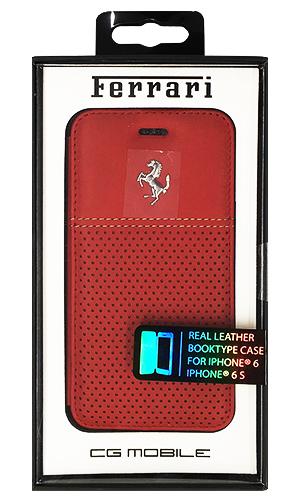 """フェラーリiPhone6/6S(4.7inch)カバー """"F12  Real Leather Booktype Case Red"""""""