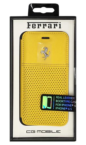 """フェラーリiPhone6/6S(4.7inch)カバー """"F12  Real Leather Booktype Case Yellow"""""""