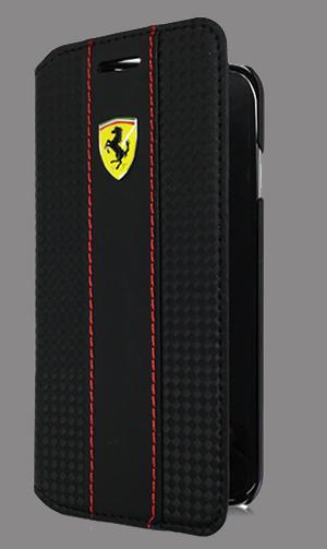 """フェラーリiPhone5/5S/SE カバー  """"Booktype Case - Red Trim - Black Carbon iPhone SE"""""""
