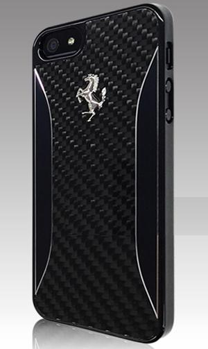 """フェラーリiPhone5/5S/SE カバー """"Ferrari Carbon Fiber Hard Case Black"""""""
