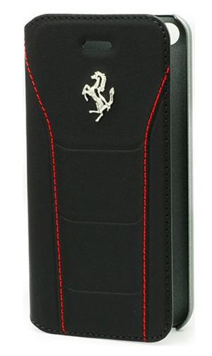 """フェラーリiPhone5/5S/SE カバー """"488 Real Leather Booktype Case Black"""""""