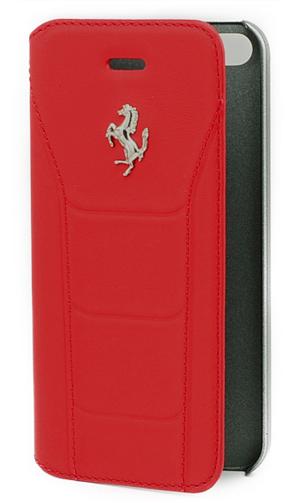 """フェラーリiPhone5/5S/SE カバー  """"488 - Booktype Case -  Genuine Leather - Red - Silver Logo"""""""
