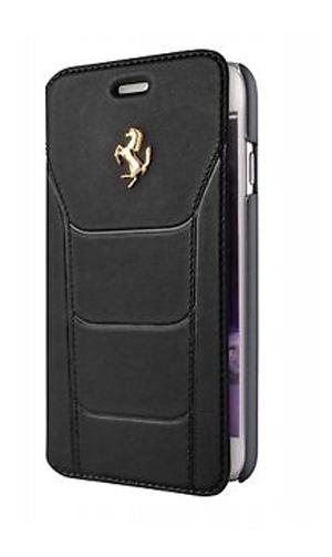 """フェラーリiPhone7 カバー """"Ferrari 488 Booktype Case Black Genuine Leather GoldLogo"""""""
