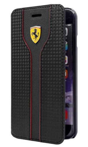 """フェラーリiPhone5/5S/SE カバー """"Hard Case - Carbon Leather  Book Type Black """""""