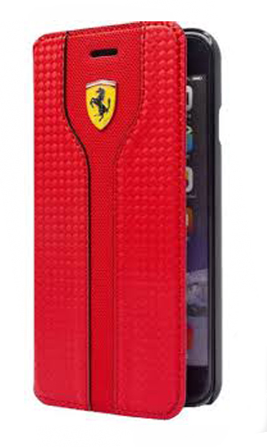 "フェラーリiPhone5/5S/SE カバー ""Hard Case - Carbon Leather  Book Type Red """