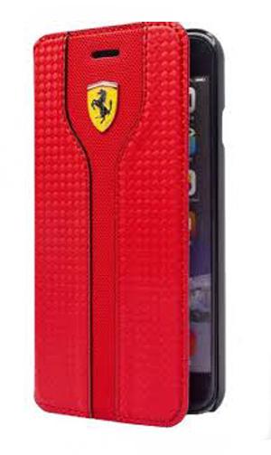 """フェラーリiPhone5/5S/SE カバー """"Hard Case - Carbon Leather  Book Type Red """""""
