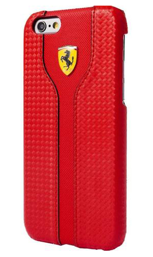 """フェラーリiPhone5/5S/SE カバー """"Hard Case - Carbon Leather Back Cover. Red """""""