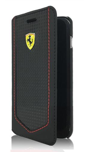 """フェラーリiPhone6/6S(4.7inch)カバー  """"Carbon PU Leather Booktype Case Black stitching red"""""""