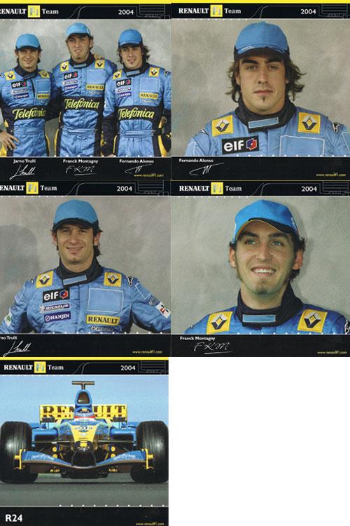 2004 ルノー ドライバーズカード 5枚セット(アロンソ・トゥルーリ・モンタニー)