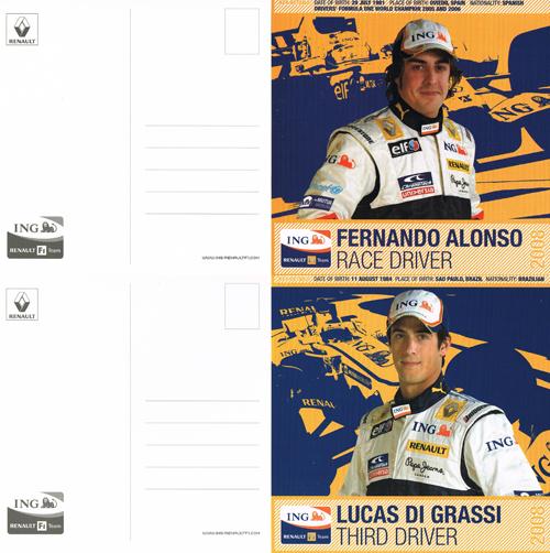 2008 ルノー ドライバーズカード 2枚セット(アロンソ・ディグラッシ)