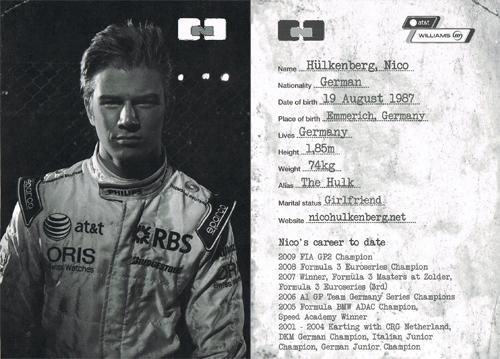 2010 ウィリアムズ ドライバーズカード (ヒュルケンベルグ)