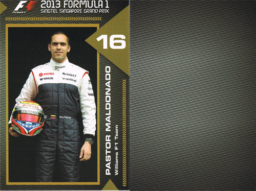 2013 シンガポールGP ドライバーズカード (マルドナルド)
