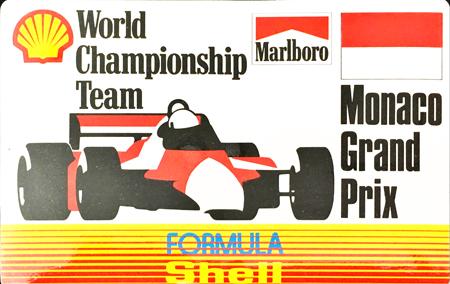 マールボロ(Marlboro)&シェル(Shell) 1990年代 プロモーションステッカー(モナコGP)  サイズ 縦8×横12.5cm