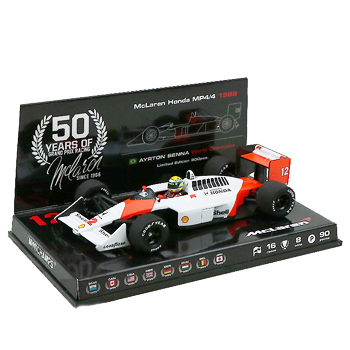 マクラーレン50周年別注 ミニチャンプス 1/43 マクラーレン ホンダ MP4/4 A.セナ 1988年ワールドチャンピオン