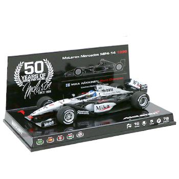 マクラーレン50周年別注 ミニチャンプス 1/43  マクラーレン メルセデス MP4/14 M.ハッキネン 1999年ワールドチャンピオン