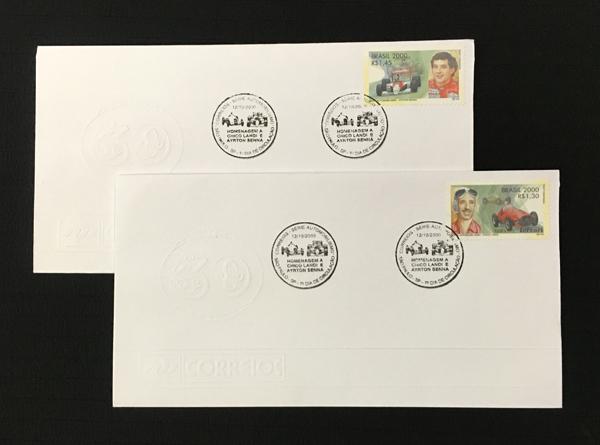 アイルトン・セナ&チコ ジョセ ・ ランディ 封筒付切手セット