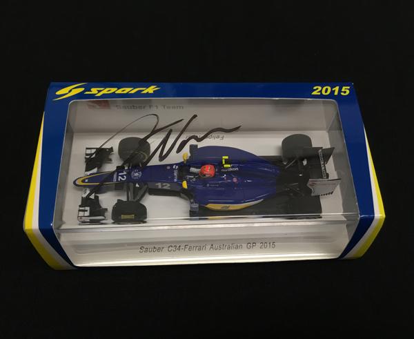 F.ナスル(ナッセ) 直筆サイン入 スパーク1/43 ザウバーC34 2015年オーストラリアGP
