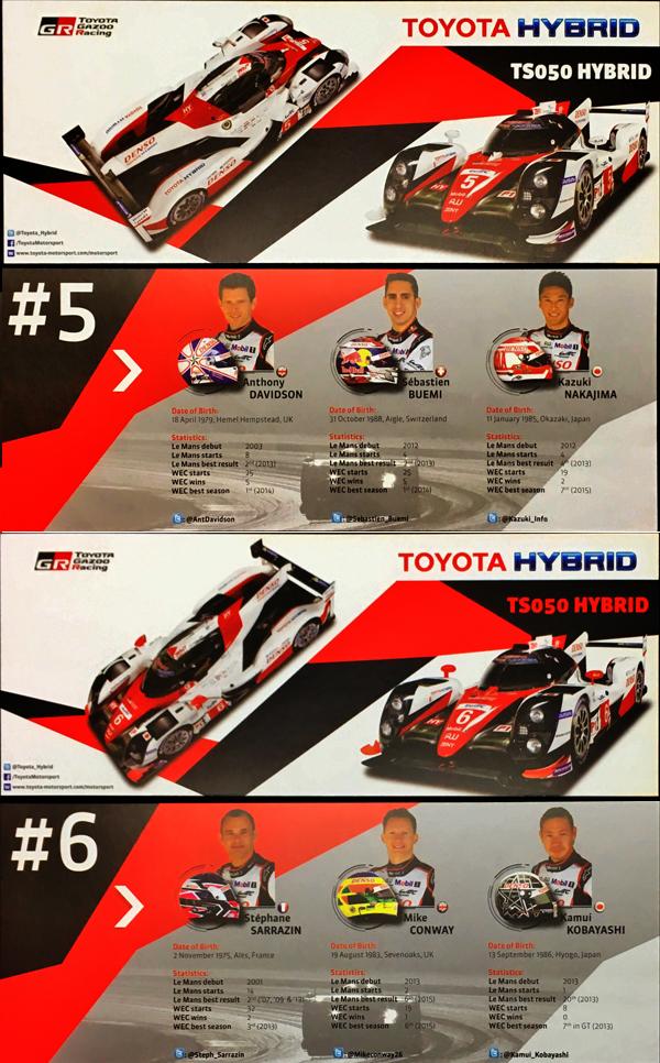 2016年 TOYOTA GAZOO RACING WEC LMP1 TS050 チームカード 5号車・6号車 2枚セット
