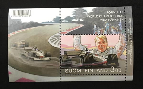 フィンランド政府発行 ミカ・ハッキネン 1998年ワールドチャンピオン獲得記念切手